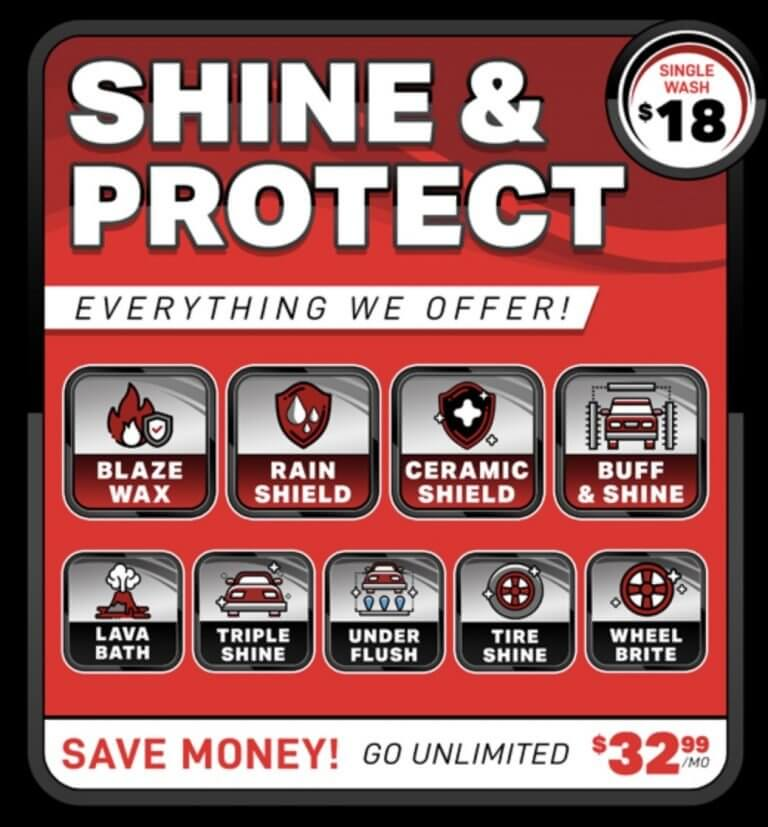 Car Wash Menu Shine & Protect